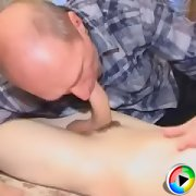 Tight young ass stretched good with horny grandpa\'s hard ..